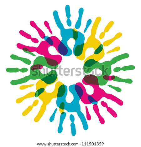 Multicolor creative diversity hands circle isolated. Vector illustration layered for easy manipulation and custom coloring.
