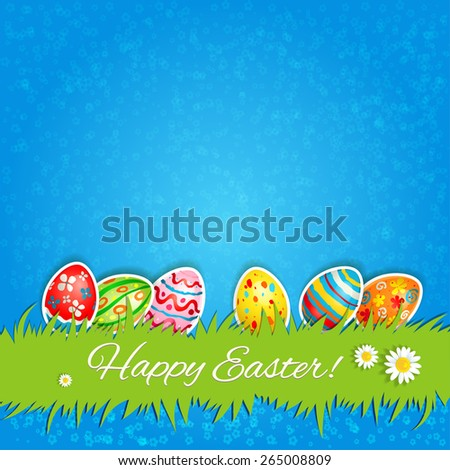 Multicolor eggs and green grass. Holiday Easter card with place for text.