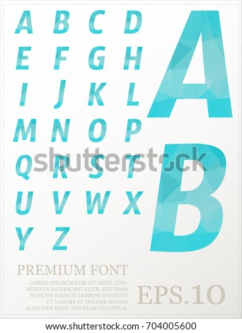 Multicolor font lowpoly style design alphabat polygonal #704005600