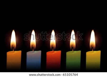 Multicolor Glowing Christmas Candles (Vector)