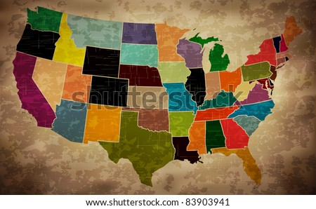 multicolor grunge usa map  ...
