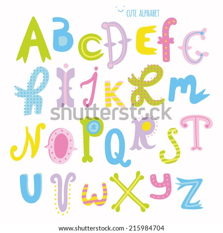 Multicolor hand drawn alphabet. Cute hand drawn letters in cartoon style
