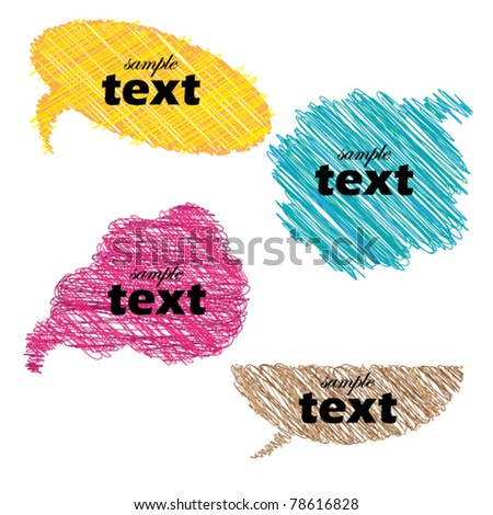 Multicolor hand drawn speech bubbles - stock vector
