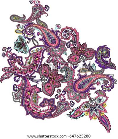 Multicolor paisley ornament vector elements