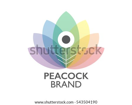 Multicolor peacock tail logo