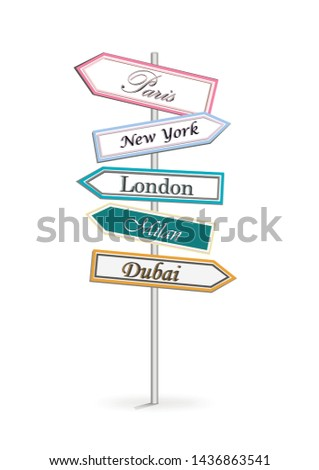 multicolor road signs Shopping City isolated on white background vertical vector illustration