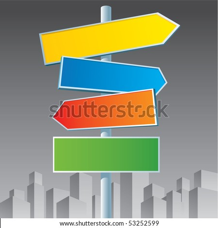 Multicolor roadsigns on black and white city background.