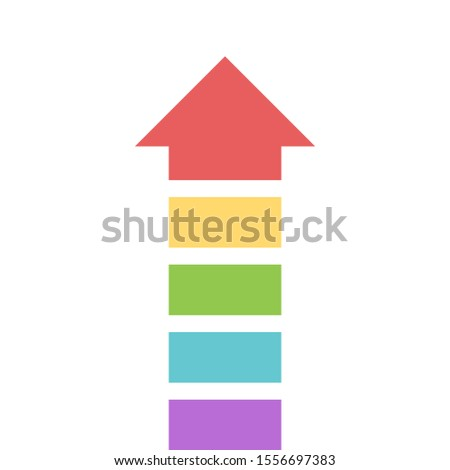Multicolor segmented vertical arrow made of many parts of different colors. Teamwork, leadership, cooperation concept. Flat design. EPS 8 compatible vector illustration, no transparency, no gradients