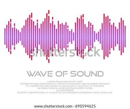 Multicolor sound wave vector illustration