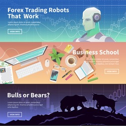 Multicolor stock exchange trading set of web banners. Equity market. World economy major trends. Modern flat design. Forex trading robot. Business school. Bulls or Bears?