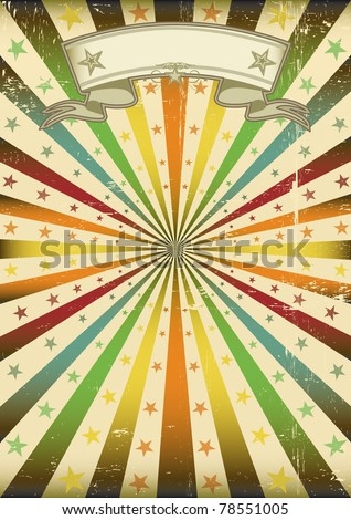 Multicolor Sunbeans grunge poster. A poster with a texture for a party and carnival