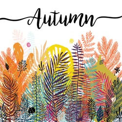 Multicolor trendy tropical autumn background, exotic leaves. Vector botanical illustration, Great design element for congratulation cards, banners and flyers.