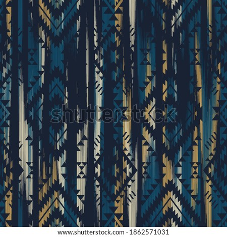 multicolor tribal vector seamless navajo pattern with grunge texture. aztec abstract geometric art print. ethnic hipster vector background. Wallpaper, cloth design, fabric, tissue, textile template.