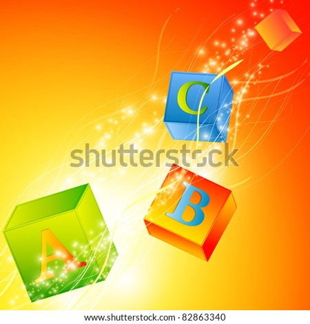 multicolored abc cubes over magic background