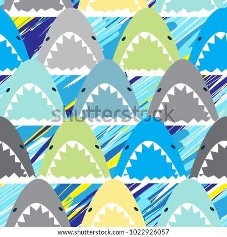 Multicolored Abstract seamless pattern with sharks.Grunge modern background for boys and girls,  For prints, T-shirts, textiles,fabric, web. Urban bright wallpaper.