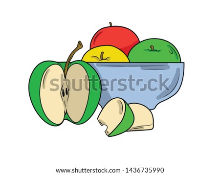 multicolored apple with a piece