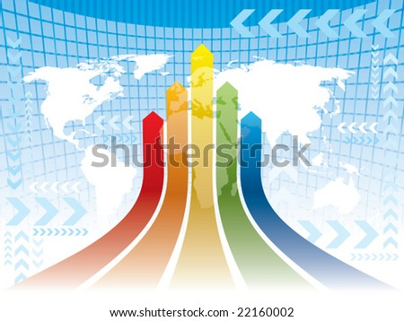 Multicolored arrows on an abstract blue background with white world map, conceptual business illustration. The base map is from Central Intelligence Agency Web site.