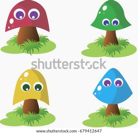 multicolored baby mushrooms