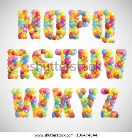 multicolored balloon alphabet