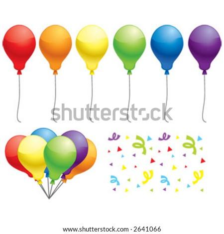 Multicolored balloons and confetti.