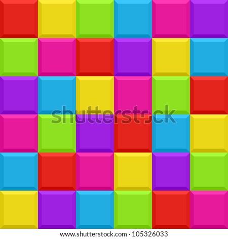 Multicolored blocks seamless background pattern. Vector illustration.