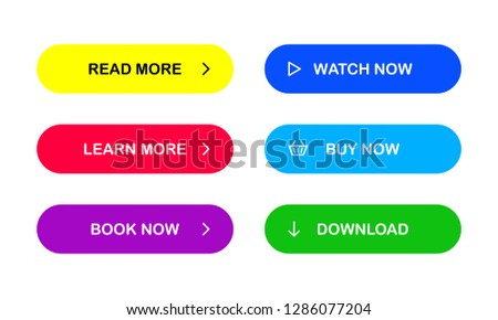 Multicolored buttons for your web site. Read more. Learn more. Book now. Watch now. Buy now. Download. EPS 10 #1286077204