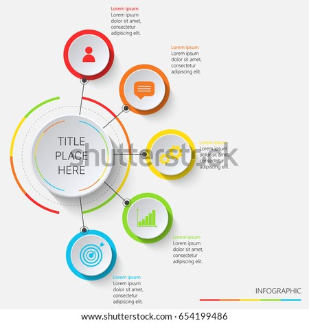Multicolored circular infographics vertically oriented