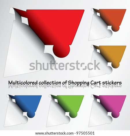 Multicolored collection of Shopping cart stickers revealing colorful background
