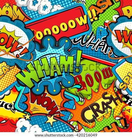 stock vector multicolored comics speech bubbles seamless pattern vector illustration 420216049 - Каталог — Фотообои «Для детской»