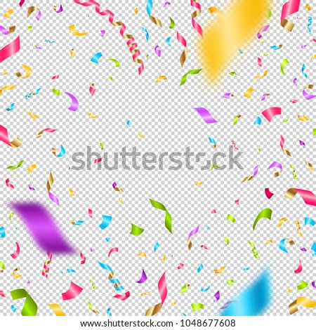 Multicolored confetti on a checkered background. Can be used over any image. Vector illustration.