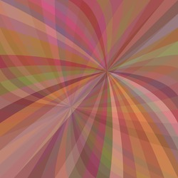 Multicolored curved ray burst background - vector design from swirling rays