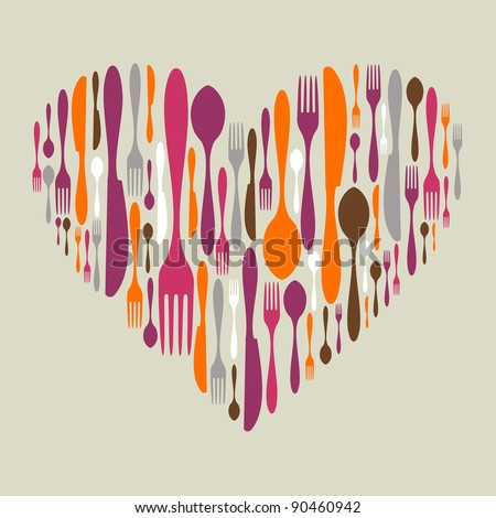 Multicolored cutlery icon set in heart shape. Fork, knife and spoon silhouettes. Vector available