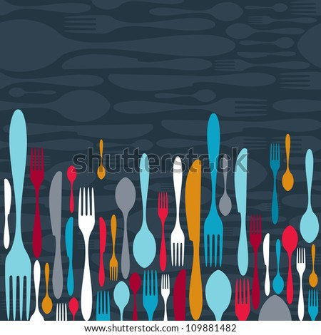 Multicolored cutlery icons pattern background. Vector illustration layered for easy manipulation and custom coloring.