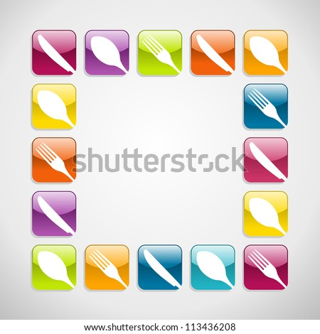 multicolored cutlery web icons