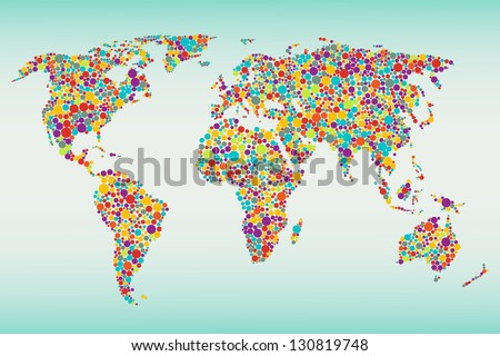 Multicolored dots world map. Easy colors change