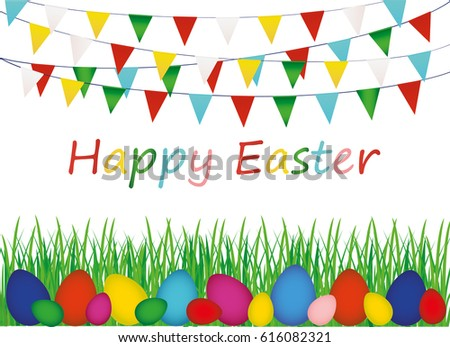 Multicolored Easter Eggs On The Green Grass And A Garland Of Flags Bunting Greeting