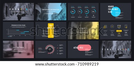 Multicolored elements on a black background. This template is the best as a business presentation, corporate report, used in marketing and advertising, the annual report, flyer and banner