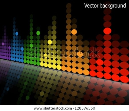 multicolored equalizer with reflection beneath the slope.