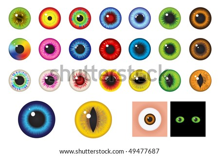 Multicolored Eyes, Iris and Pupil - Elements for design - stock vector
