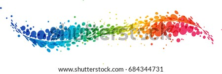 Multicolored futuristic rainbow on white background, curve line with circles