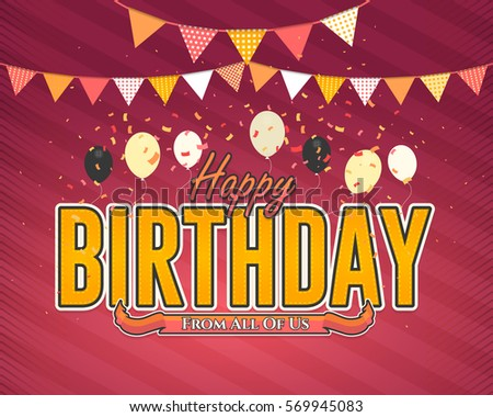 Multicolored Happy Birthday Celebration Design, Vector Ornament Elements, Greeting Card Template Red Colors Background - Shutterstock ID 569945083