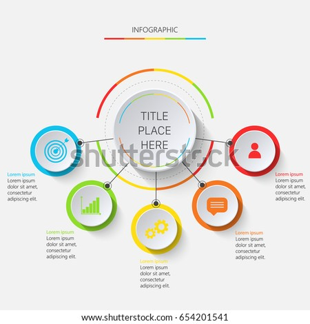 Multicolored infographics circle with 5 circles #654201541