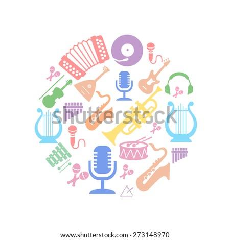 multicolored music instruments