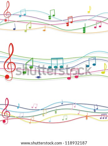 multicolored musical notes and