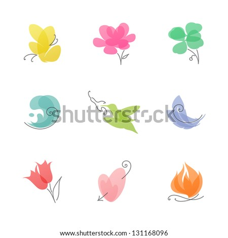 Multicolored nature �¢?? set of elegant vector design elements