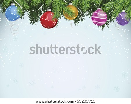 Multicolored ornaments hanging from evergreen branches
