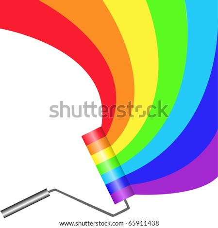 multicolored paint roller painting semicircular rainbow