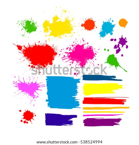 multicolored paint stains set