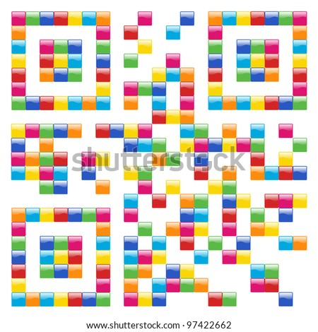Multicolored Qr code concept design background. Vector file available.