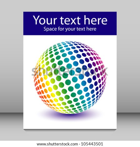 Multicolored rainbow globe leaflet design.